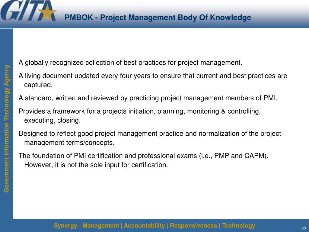 PMBOK - Project Management Body Of Knowledge