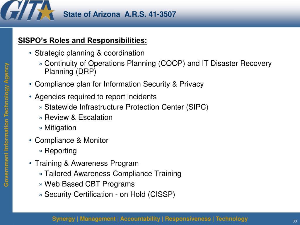State of Arizona  A.R.S. 41-3507