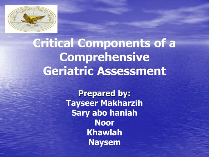 critical components of a comprehensive geriatric assessment n.