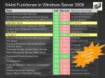 64 bit funktionen in windows server 2008