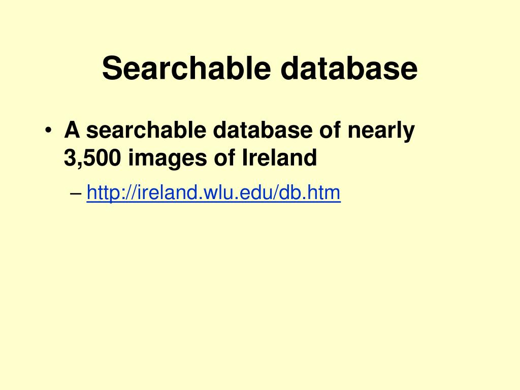 Searchable database