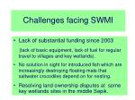 challenges facing swmi