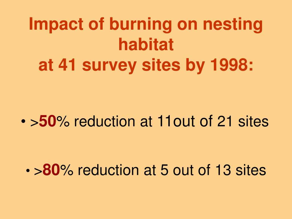 Impact of burning on nesting habitat