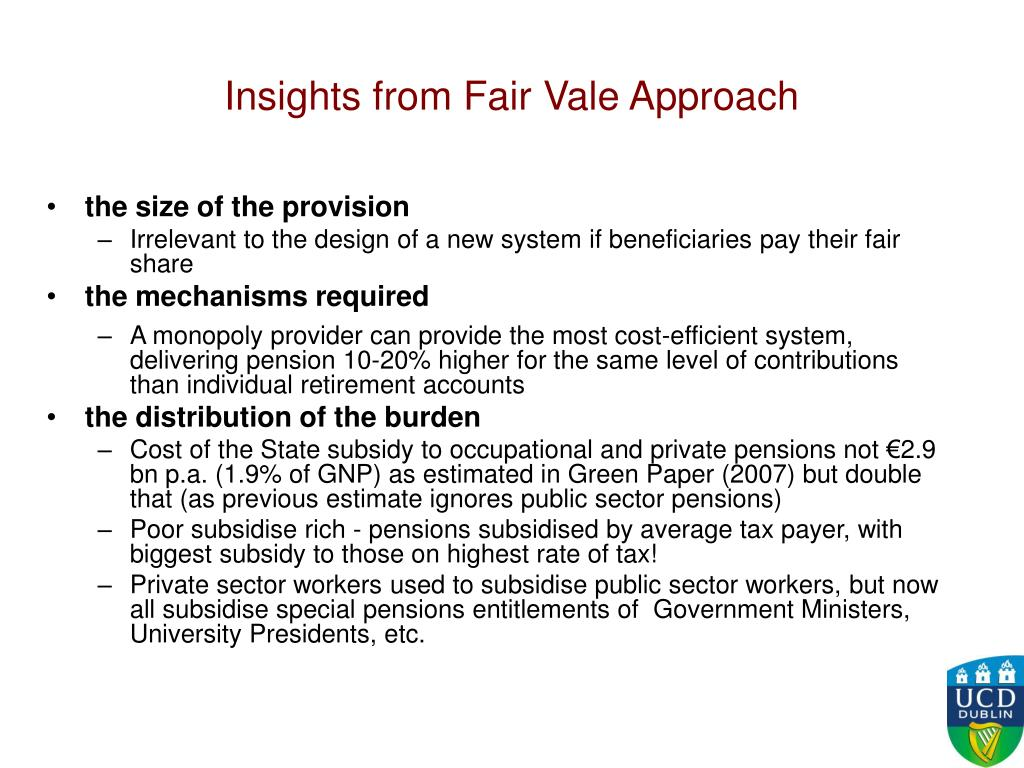 Insights from Fair Vale Approach