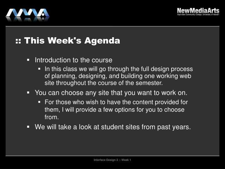 This week s agenda
