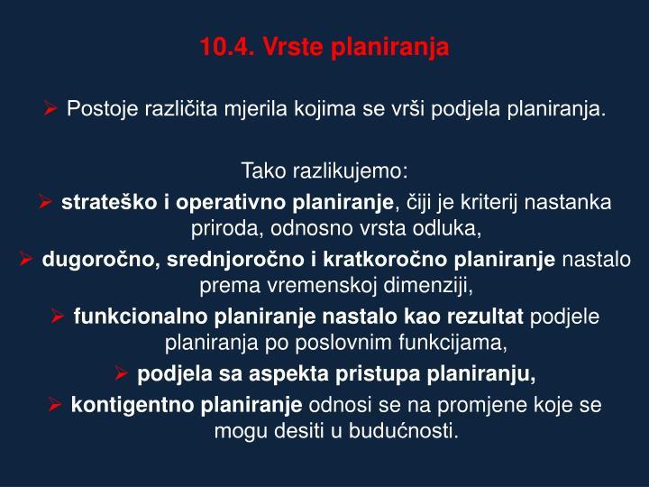10.4. Vrste planiranja