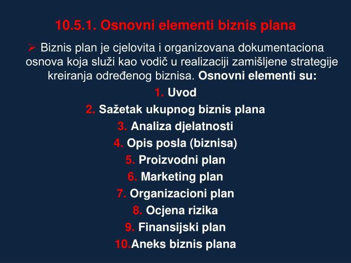 10.5.1. Osnovni elementi biznis plana