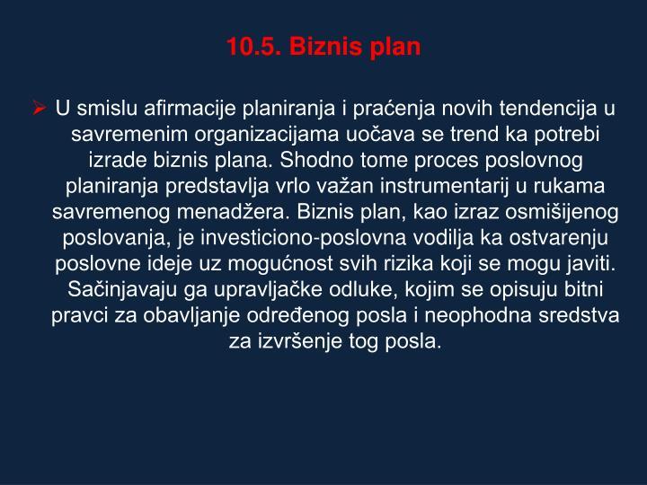 10.5. Biznis plan