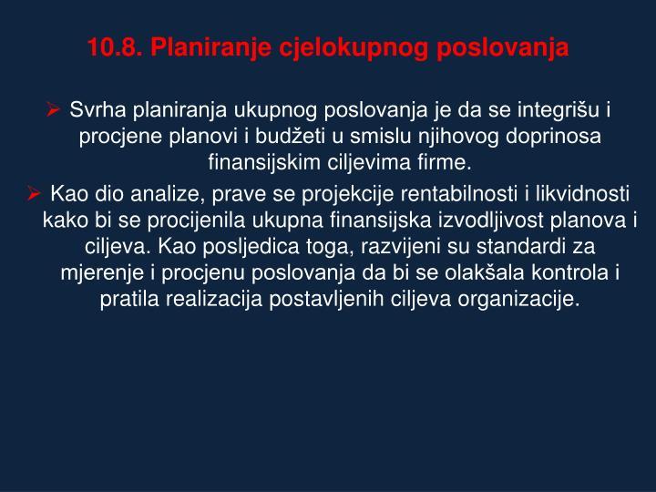 10.8. Planiranje cjelokupnog poslovanja