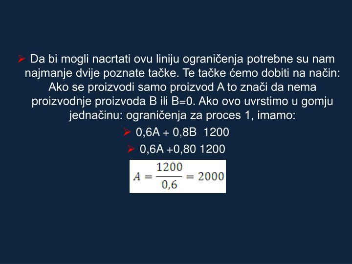 Da bi mogli nacrtati ovu liniju ograničenja potrebne su nam najmanje dvije poznate tačke. Te tačke ćemo dobiti na način: Ako se proizvodi samo proizvod A to znači da nema proizvodnje proizvoda B ili B=0. Ako ovo uvrstimo u gomju jednačinu: ograničenja za proces 1, imamo: