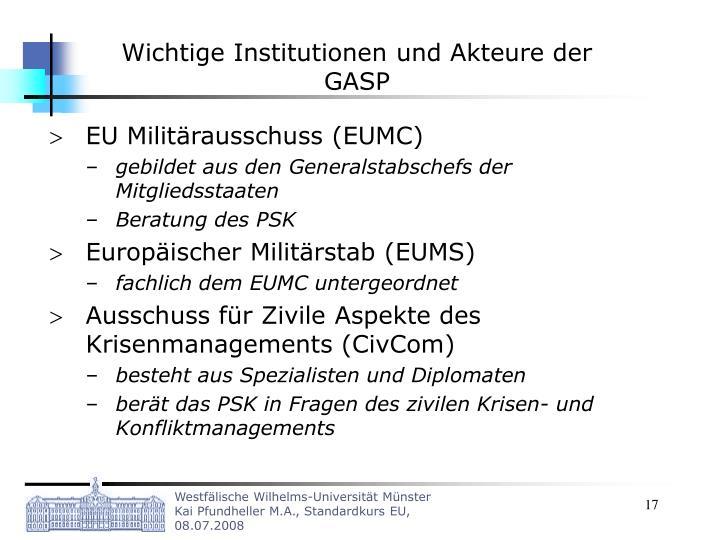 Wichtige Institutionen und Akteure der GASP