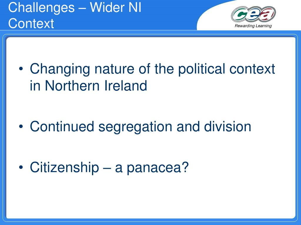 Challenges – Wider NI Context
