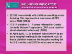 well being indicators information on services in needed