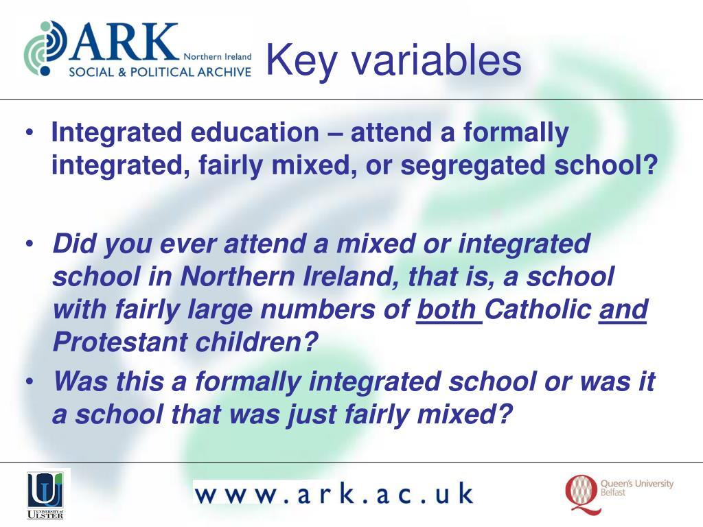 Integrated education – attend a formally integrated, fairly mixed, or segregated school?