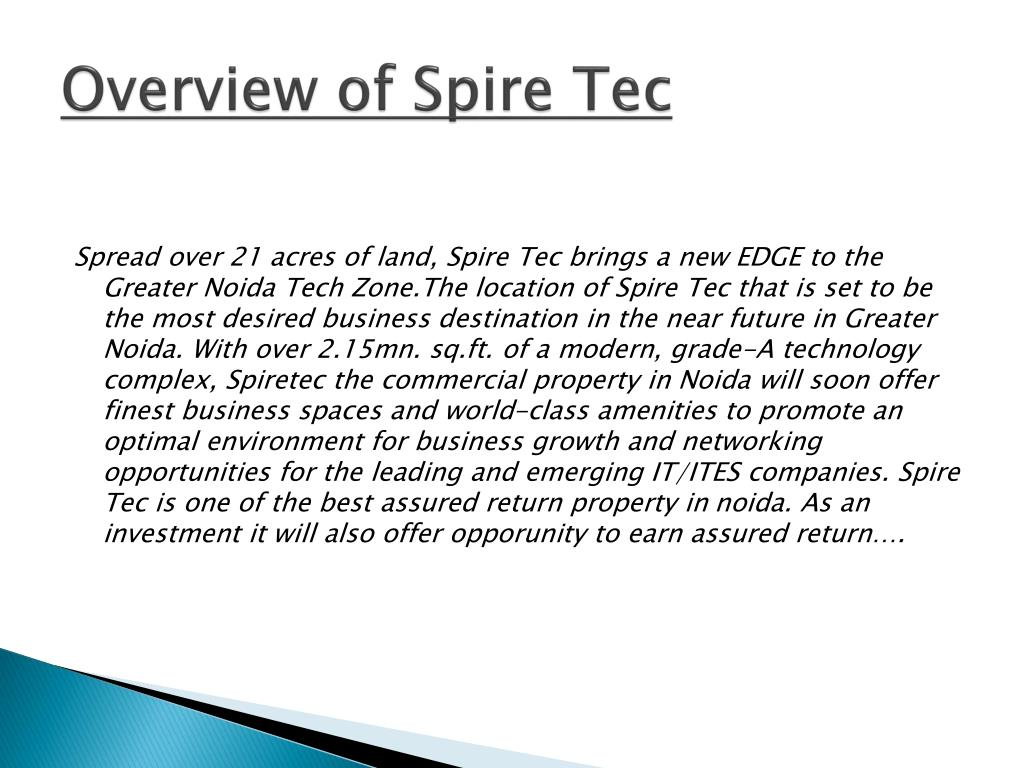 Overview of Spire Tec
