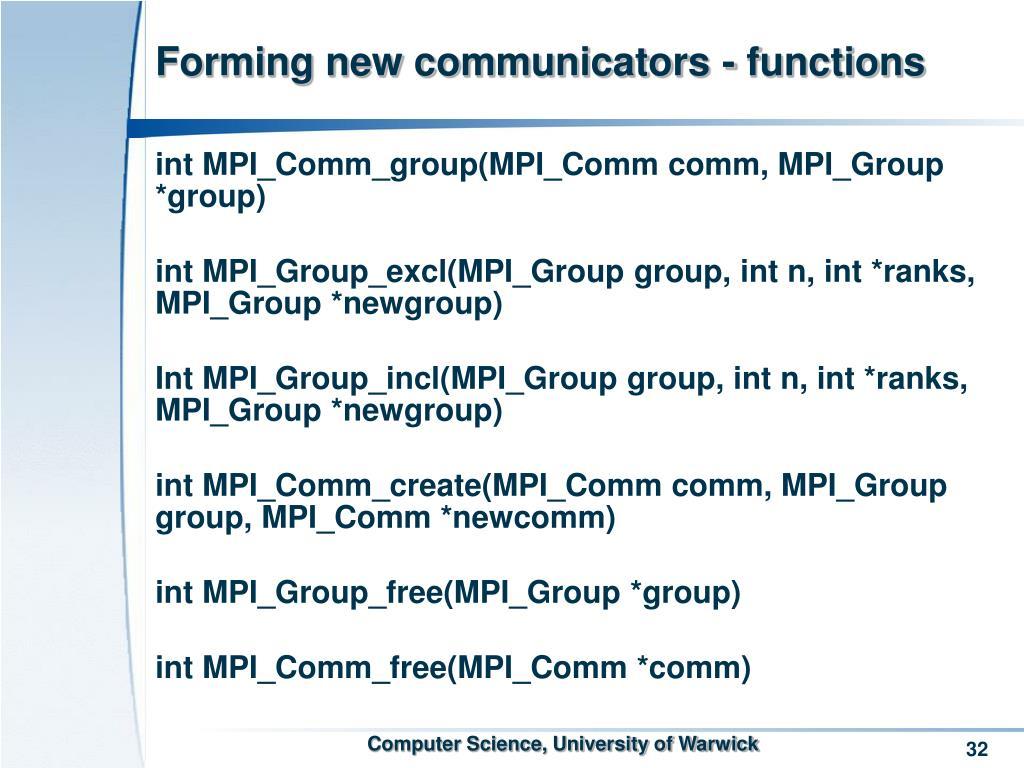 Forming new communicators - functions