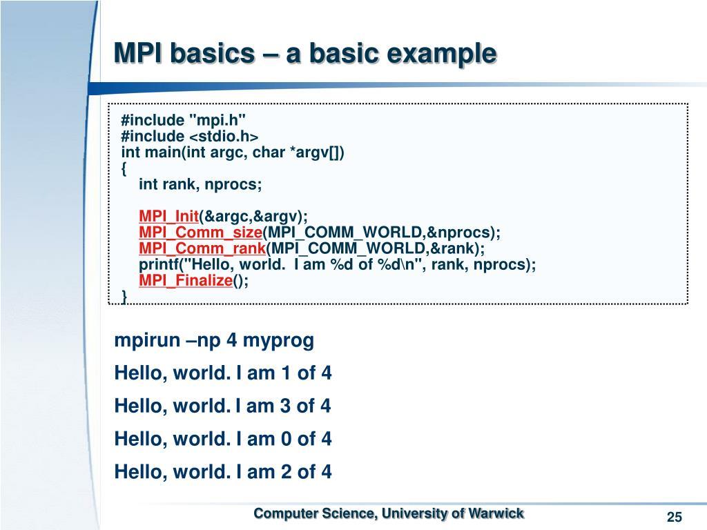 MPI basics – a basic example