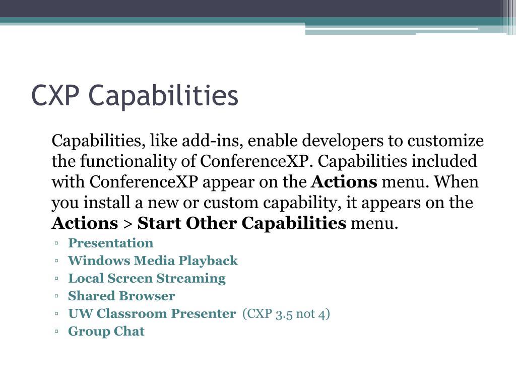 CXP Capabilities