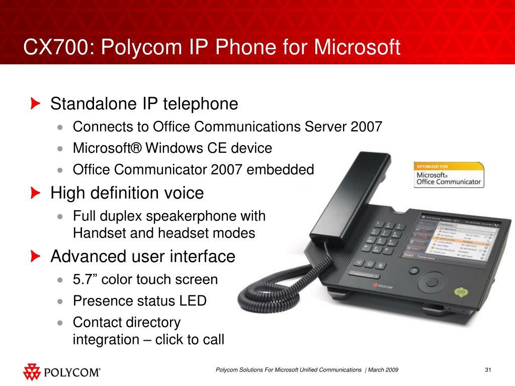 CX700: Polycom IP Phone for Microsoft