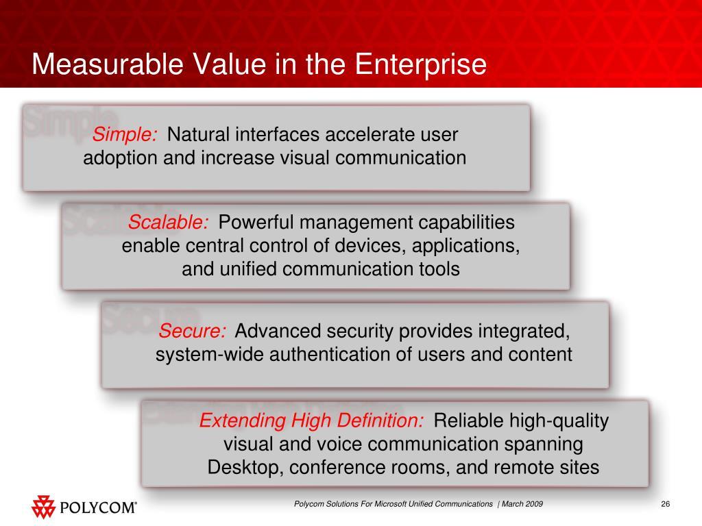 Measurable Value in the Enterprise