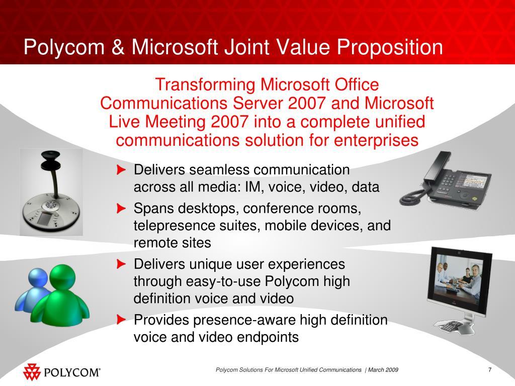 Polycom & Microsoft Joint Value Proposition