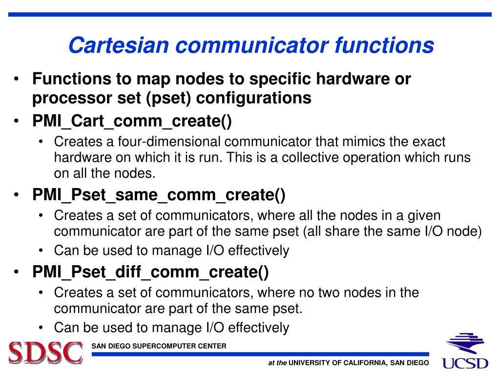 Cartesian communicator functions