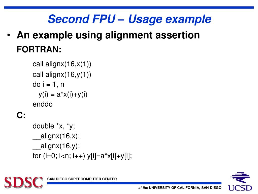 Second FPU – Usage example