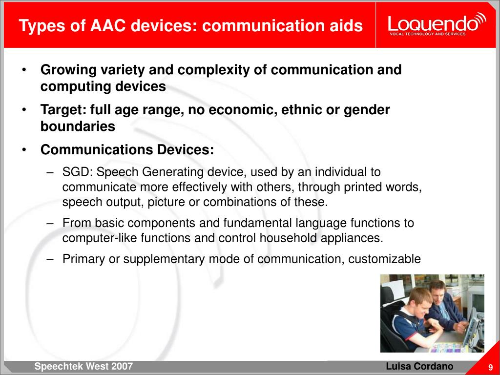 Types of AAC devices: communication aids