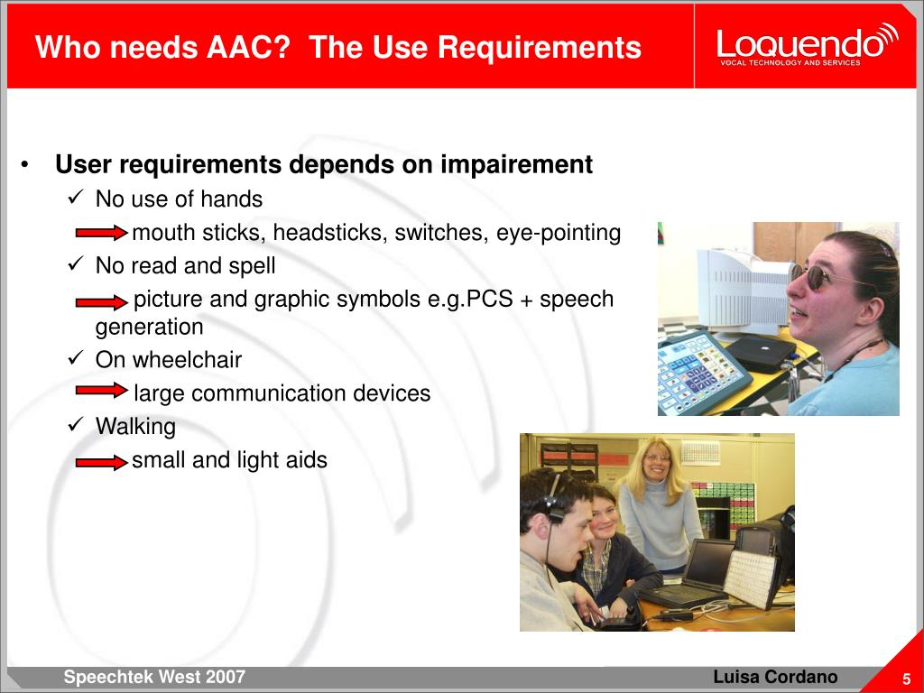 Who needs AAC?  The Use Requirements