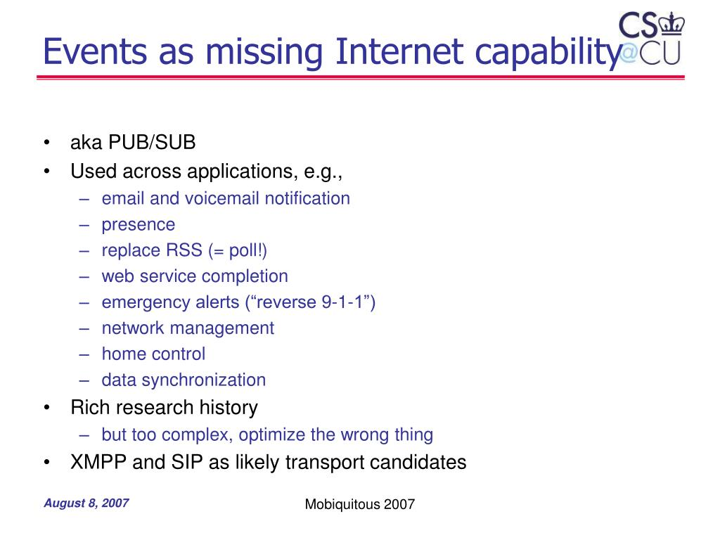 Events as missing Internet capability