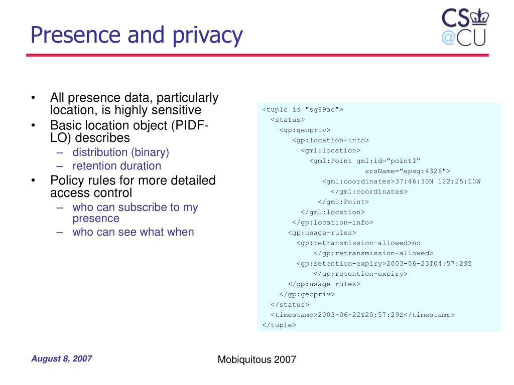 Presence and privacy