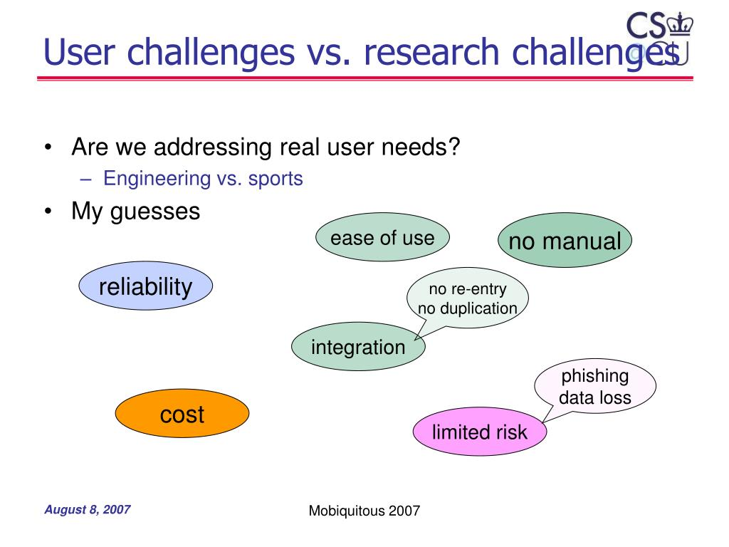 User challenges vs. research challenges