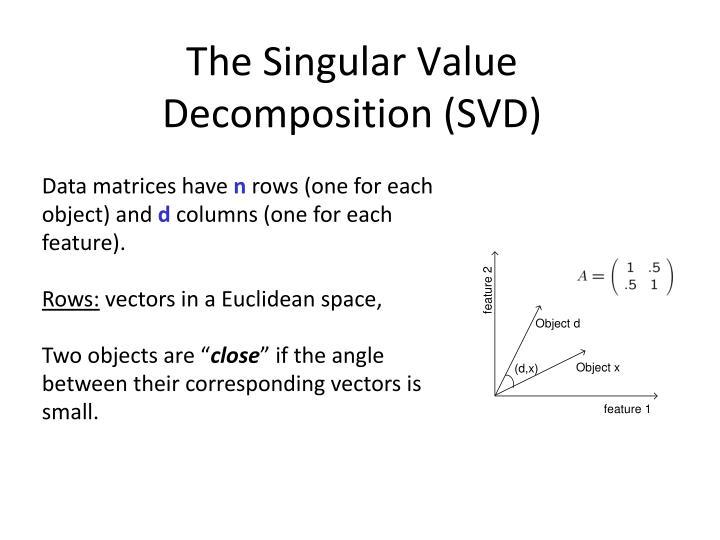 The Singular Value Decomposition (SVD)