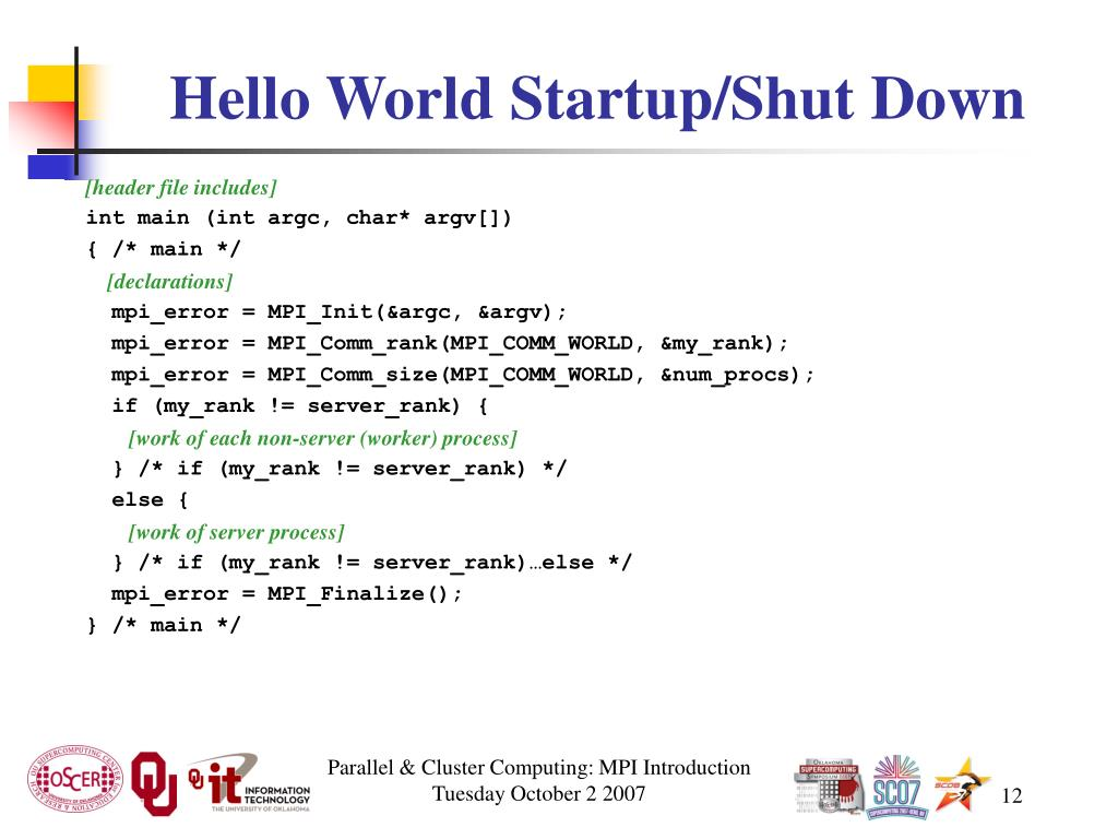 Hello World Startup/Shut Down