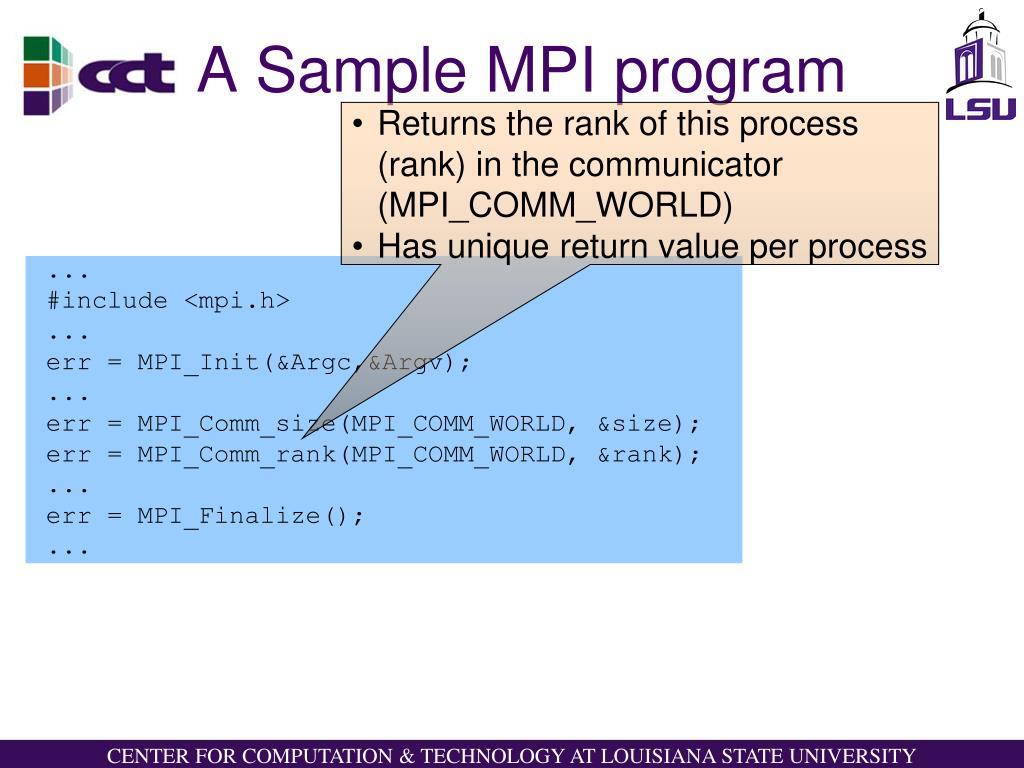 A Sample MPI program