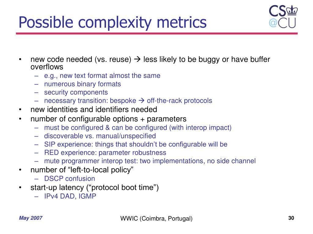 Possible complexity metrics
