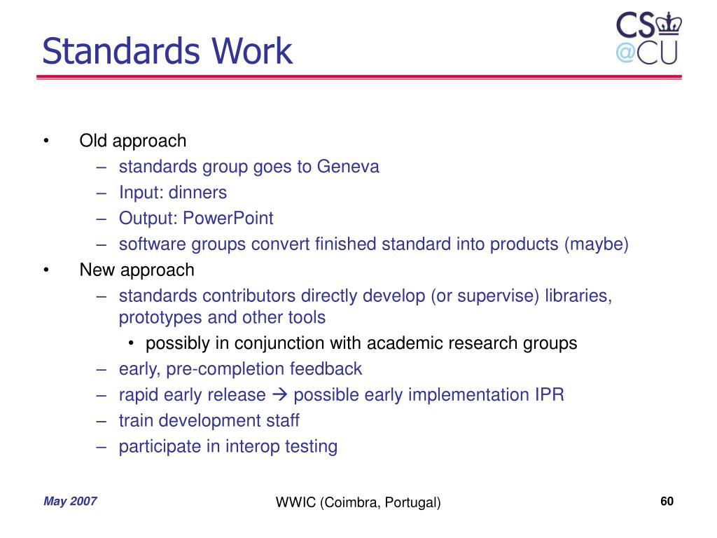 Standards Work