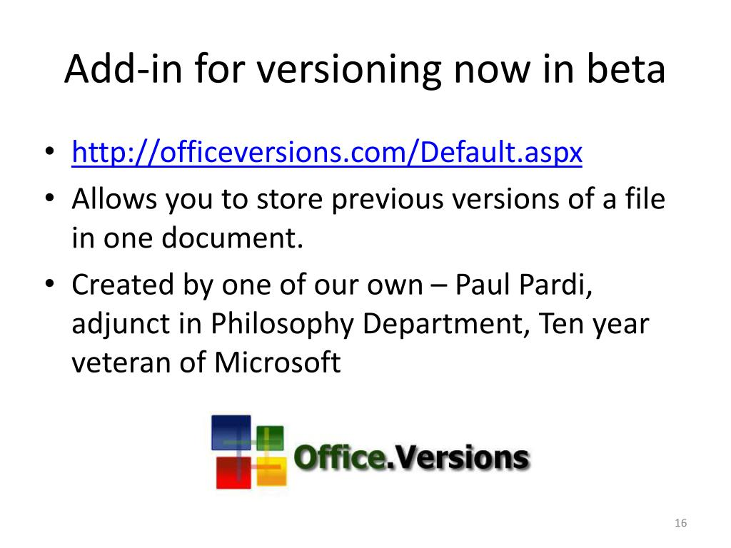 Add-in for versioning now in beta