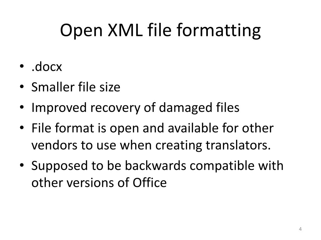 Open XML file formatting