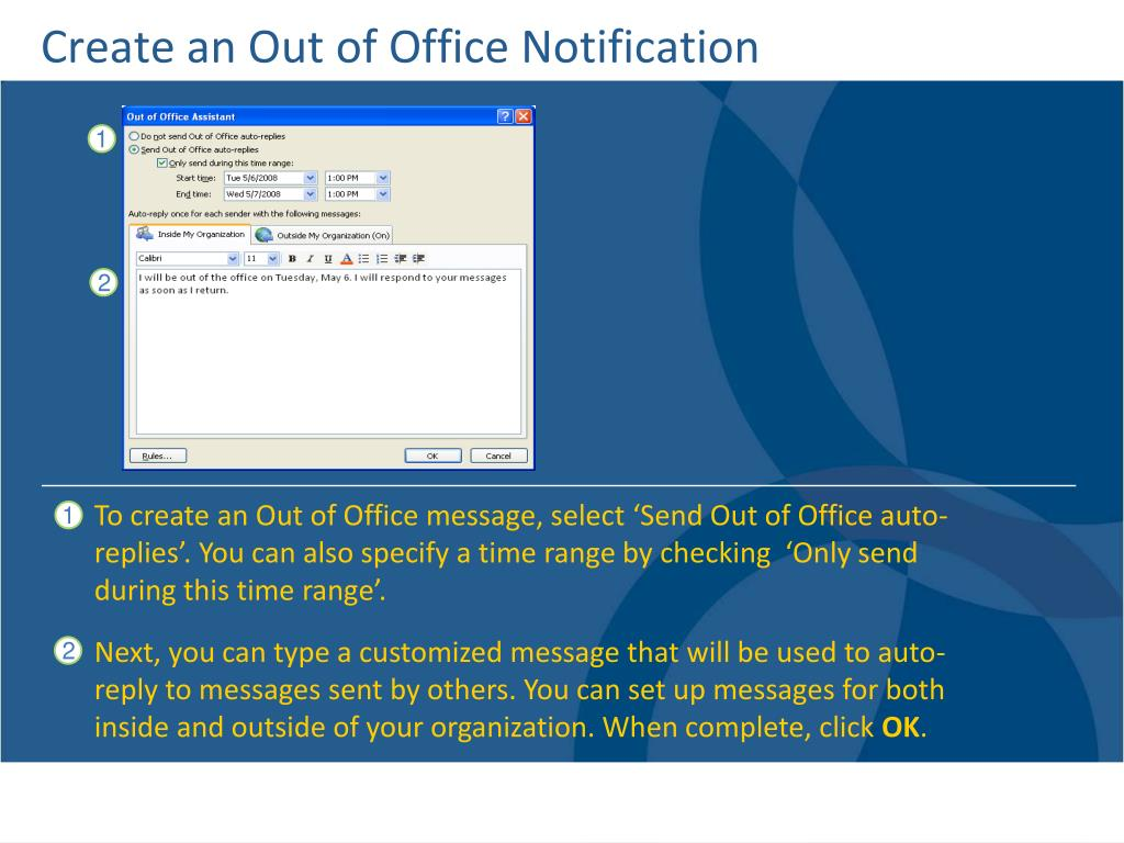 Create an Out of Office Notification