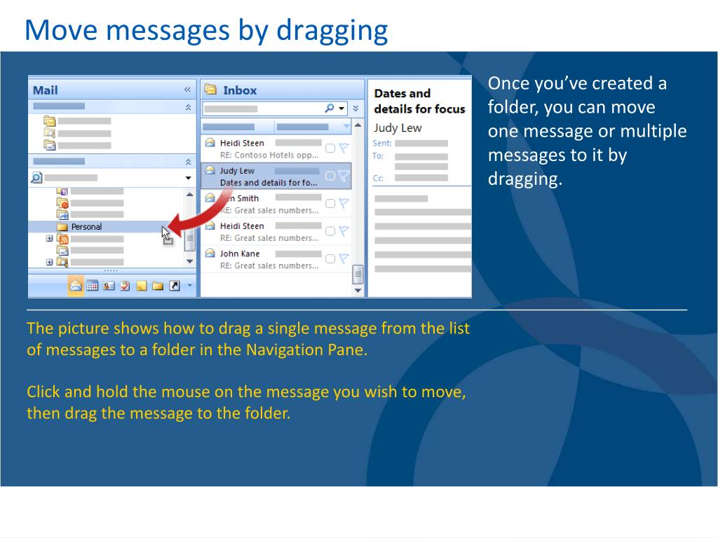 Move messages by dragging