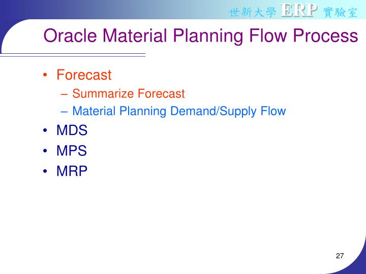 Oracle Material Planning Flow Process