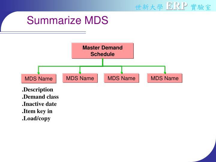 Summarize MDS