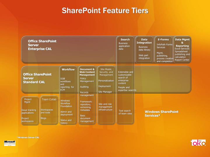 Sharepoint feature tiers