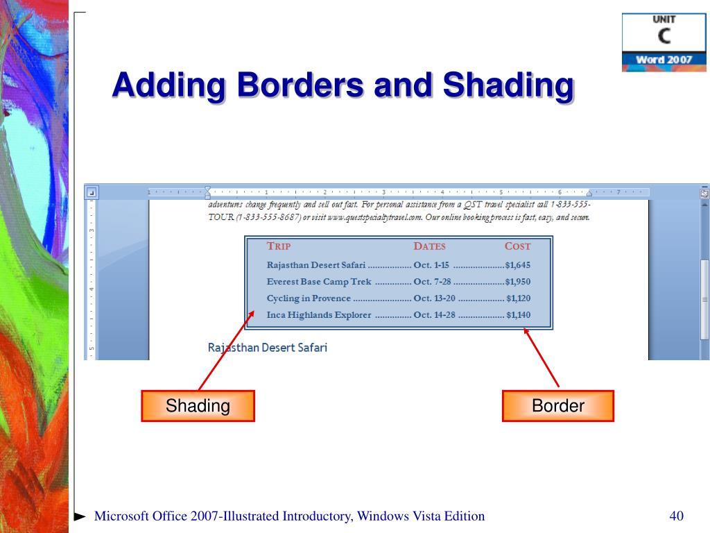 Adding Borders and Shading