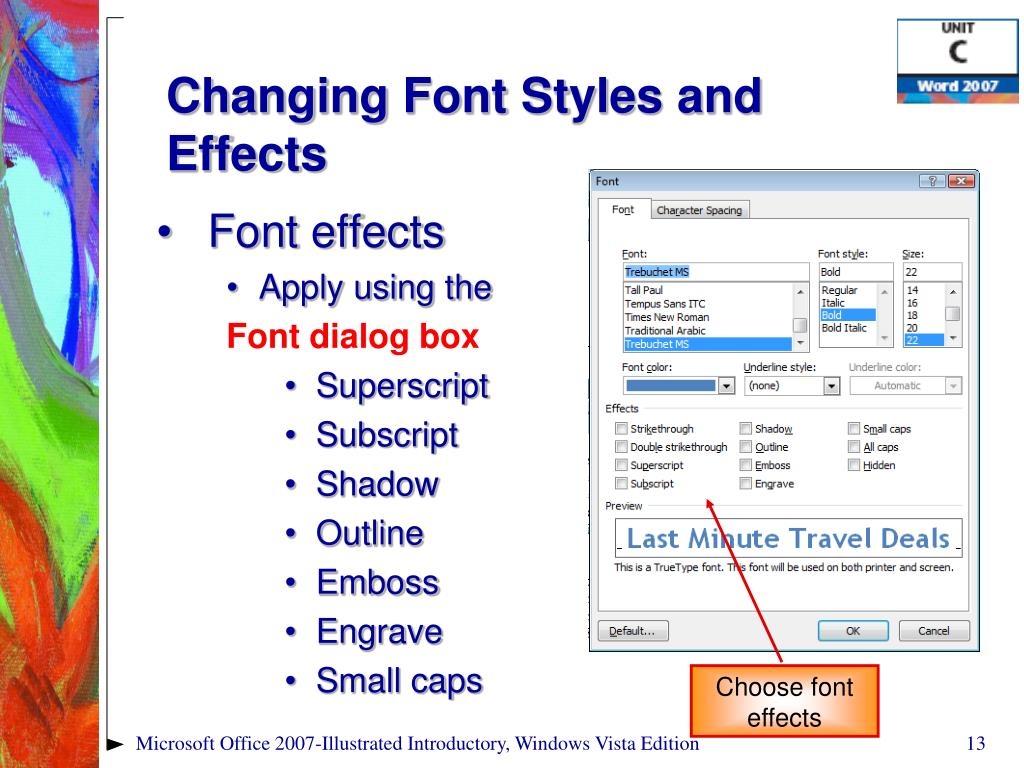Changing Font Styles and Effects