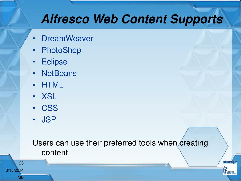 Alfresco Web Content Supports