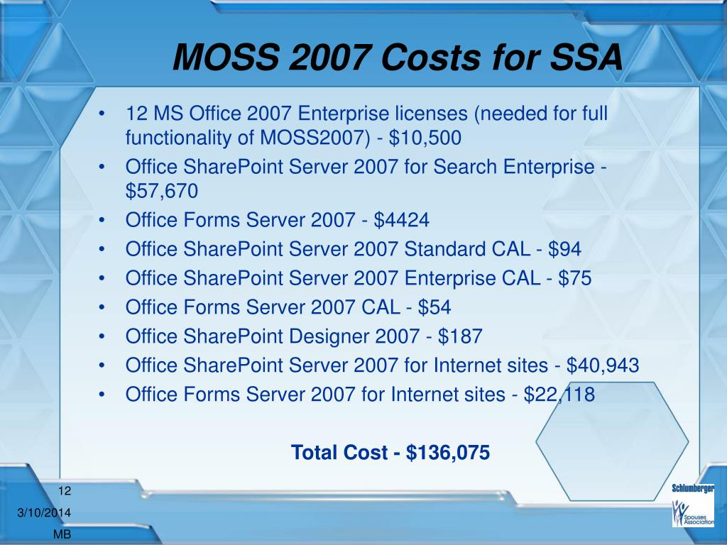 MOSS 2007 Costs for SSA