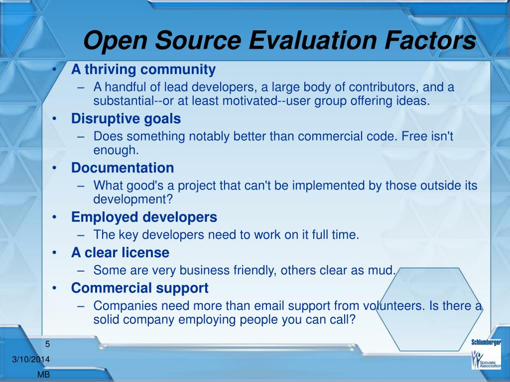 Open Source Evaluation Factors