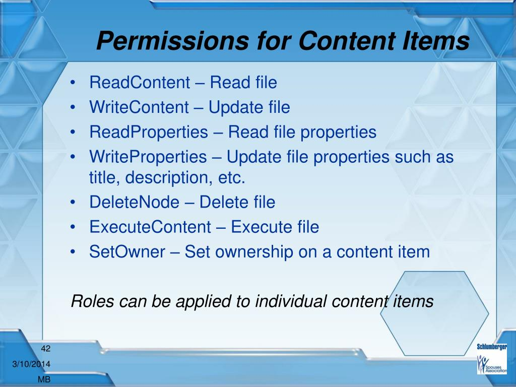 Permissions for Content Items
